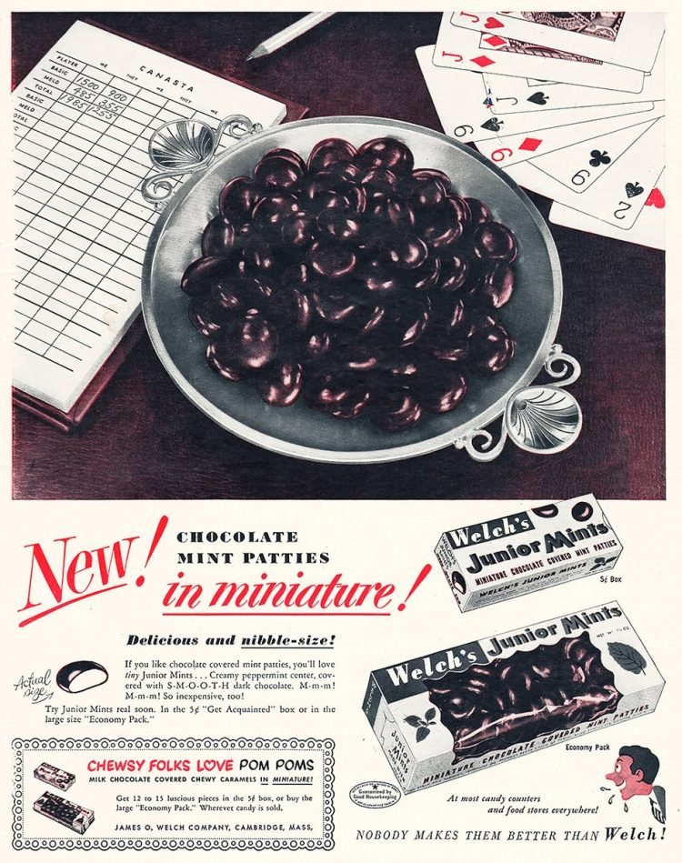 Vintage Welch's Junior Mints 1950