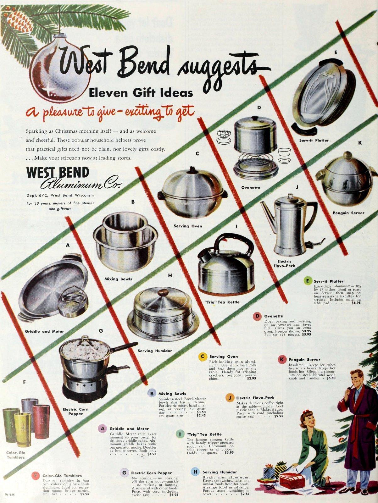 Vintage West Bend aluminum pots pans kettles and more (1950)