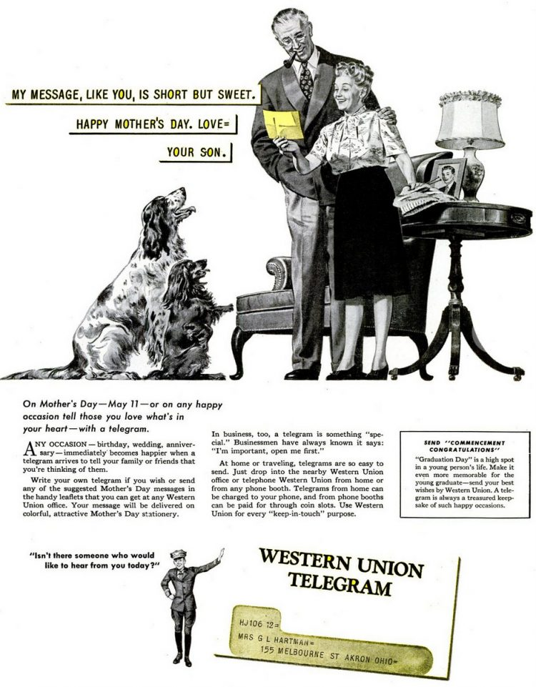 Vintage Western Union telegram for Mother's Day 1947