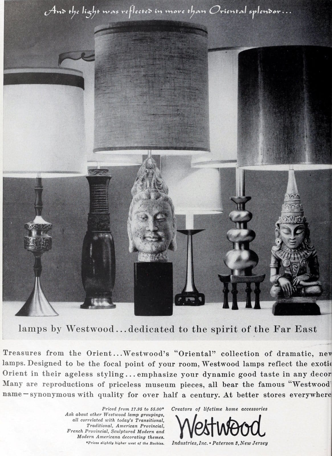 Vintage Westood lamps in Far East decorative styles (1959)