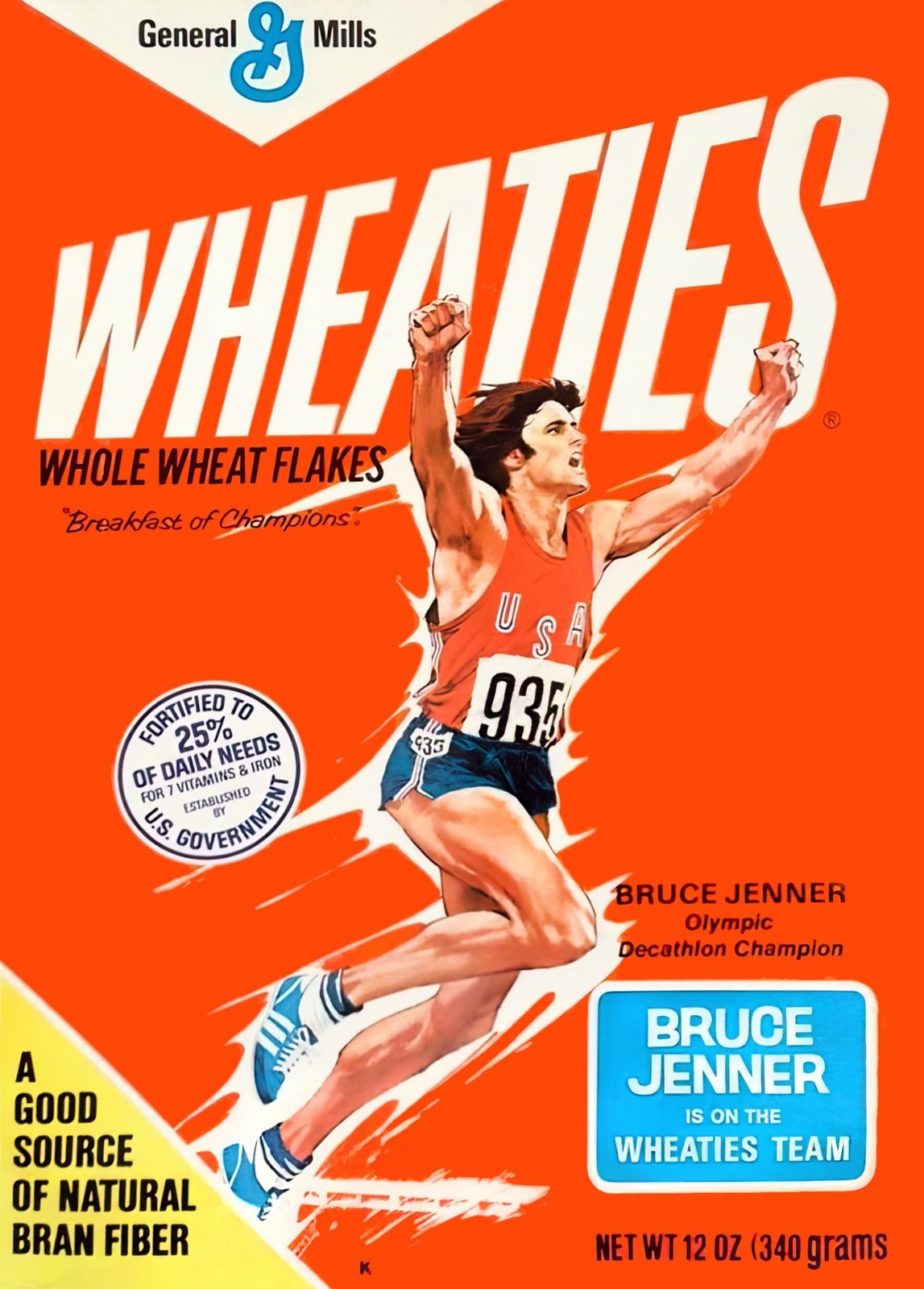 Vintage Wheaties cereal box with Bruce Jenner - later Caitlyn Jenner (1976)