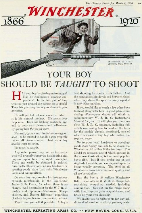 Vintage Winchesters from 1920 - Your boy should be taught to shoot