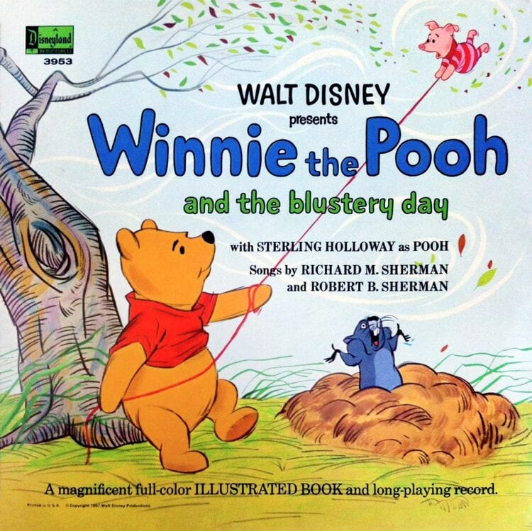 Vintage Winnie the Poo Disney book and vinyl record from 1960s 1970s