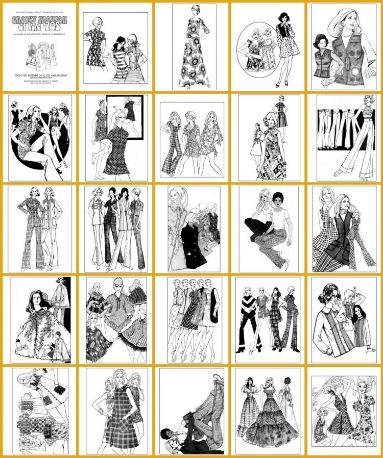 Vintage Women Adult Coloring Book Groovy Fashion of the '70s - inside (1)