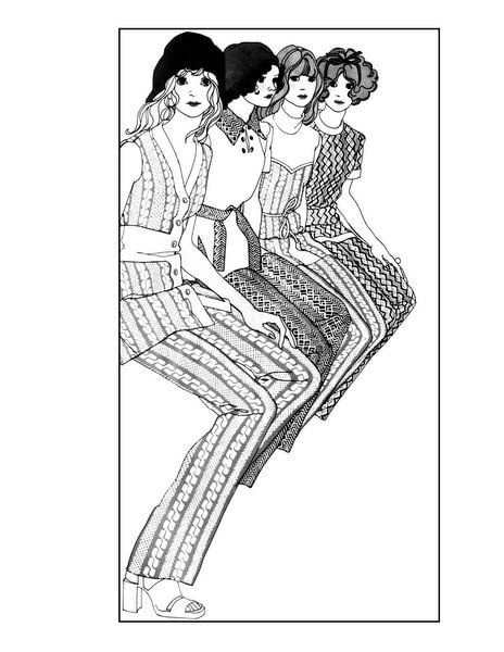 Vintage Women Adult Coloring Book Groovy Fashion of the 70s - sample pages (1)
