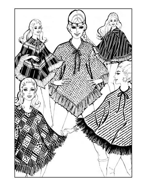 Vintage Women Adult Coloring Book Groovy Fashion of the 70s - sample pages (3)