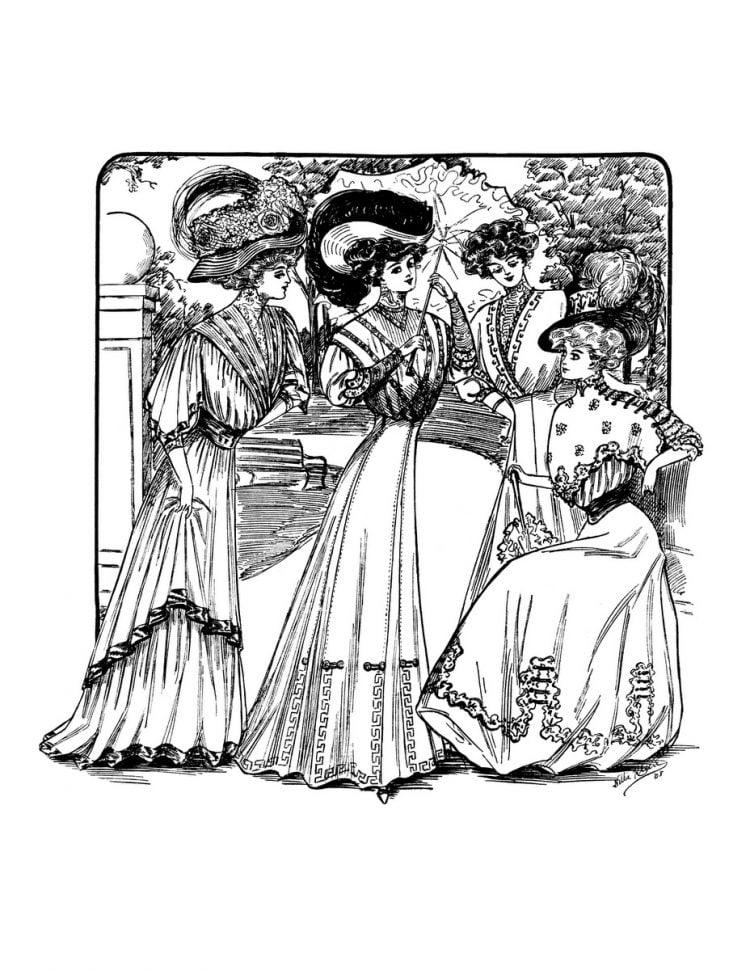 Vintage Women Coloring Book 2 Edwardian Fashion - Sample pages (3)