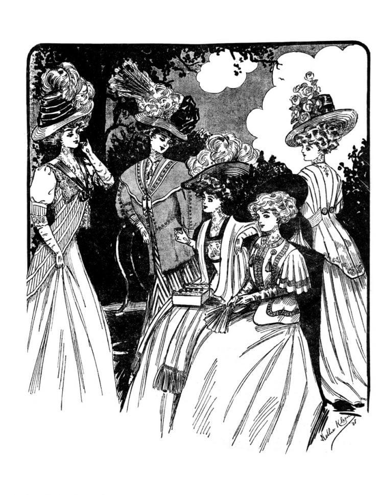 Vintage Women Coloring Book 2 Edwardian Fashion - Sample pages (5)
