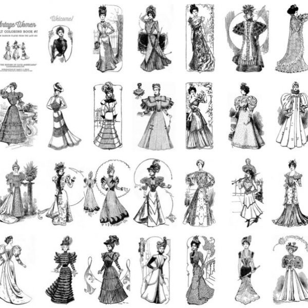 Vintage Women Coloring Book #5 Victorian Fashion Plates from the Late 1800s (2)