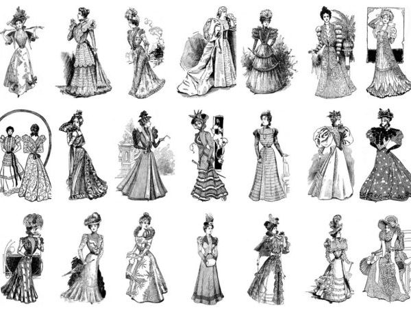 Vintage Women Coloring Book #5 Victorian Fashion Plates from the Late 1800s (3)