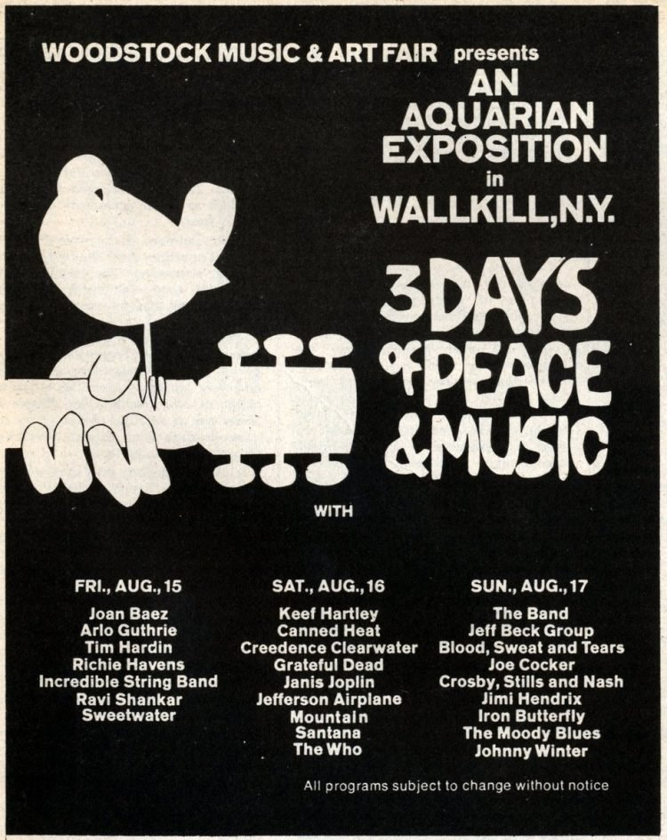 Vintage Woodstock Music and Art fair in Wallkill NY - 3 Days of Peace and Music 1969