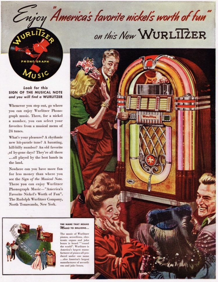 Vintage Wurlitzer jukebox - Phonograph music 1940s