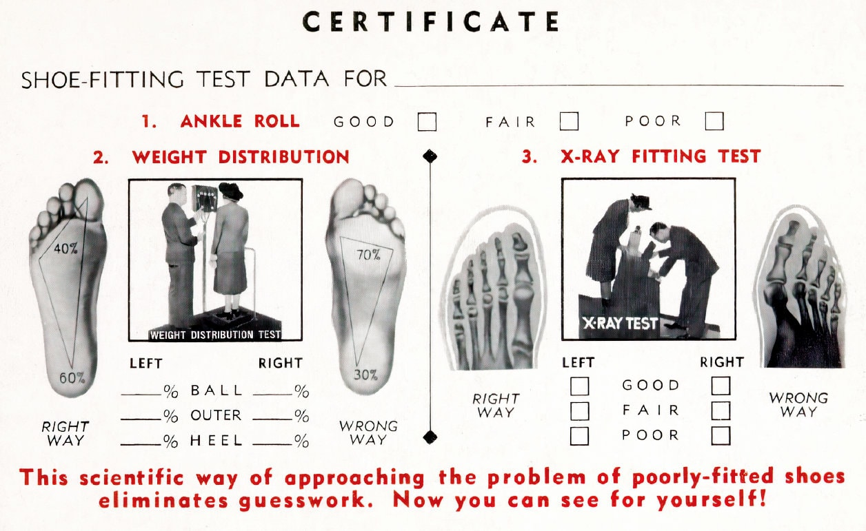 Vintage X-ray shoe fitting certificate c1940s