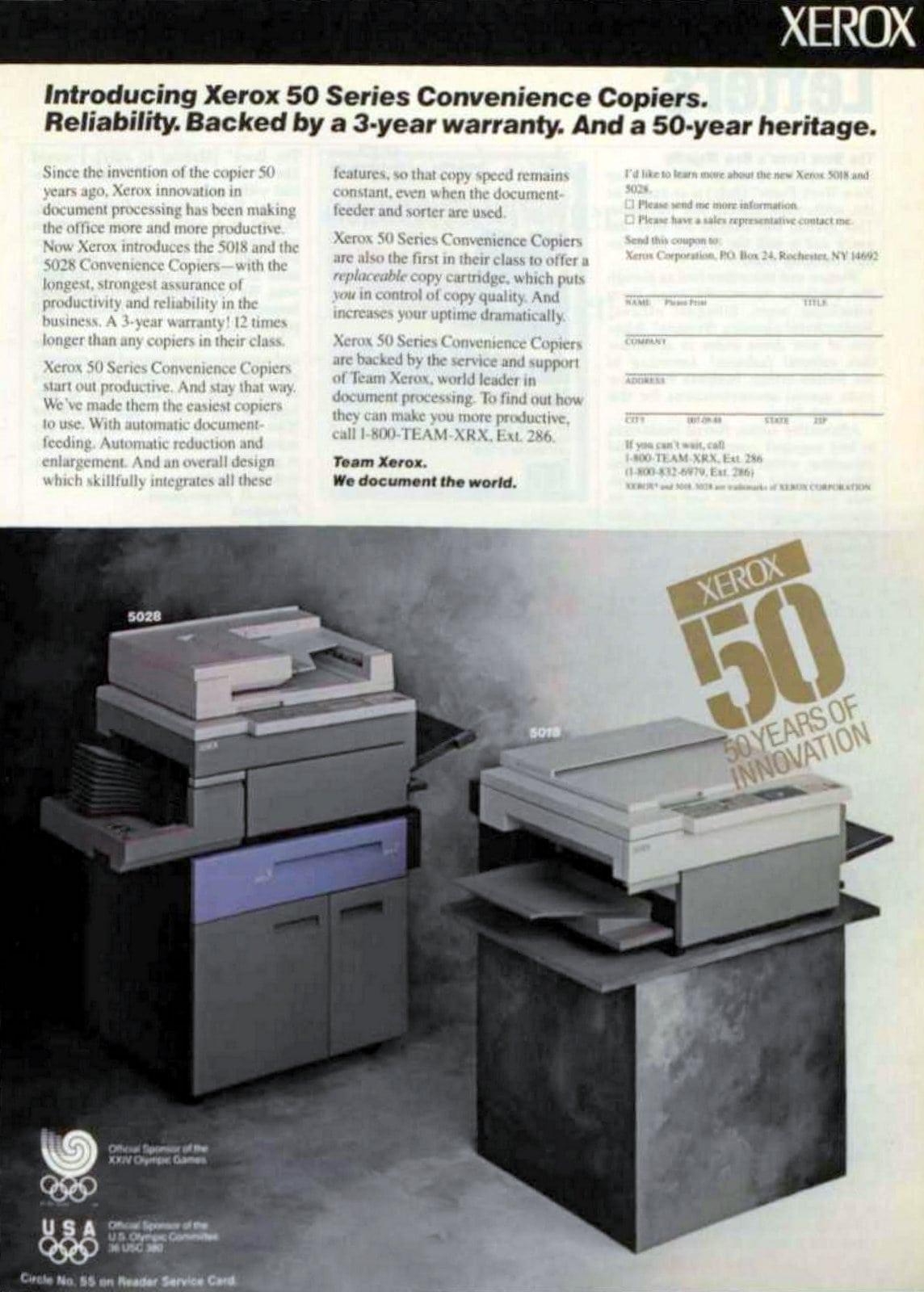 Vintage Xerox 50 Series Convenience Copier (1988)