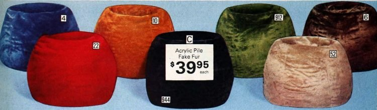 Vintage acrylic pile-fake fur beanbags from the 1970s