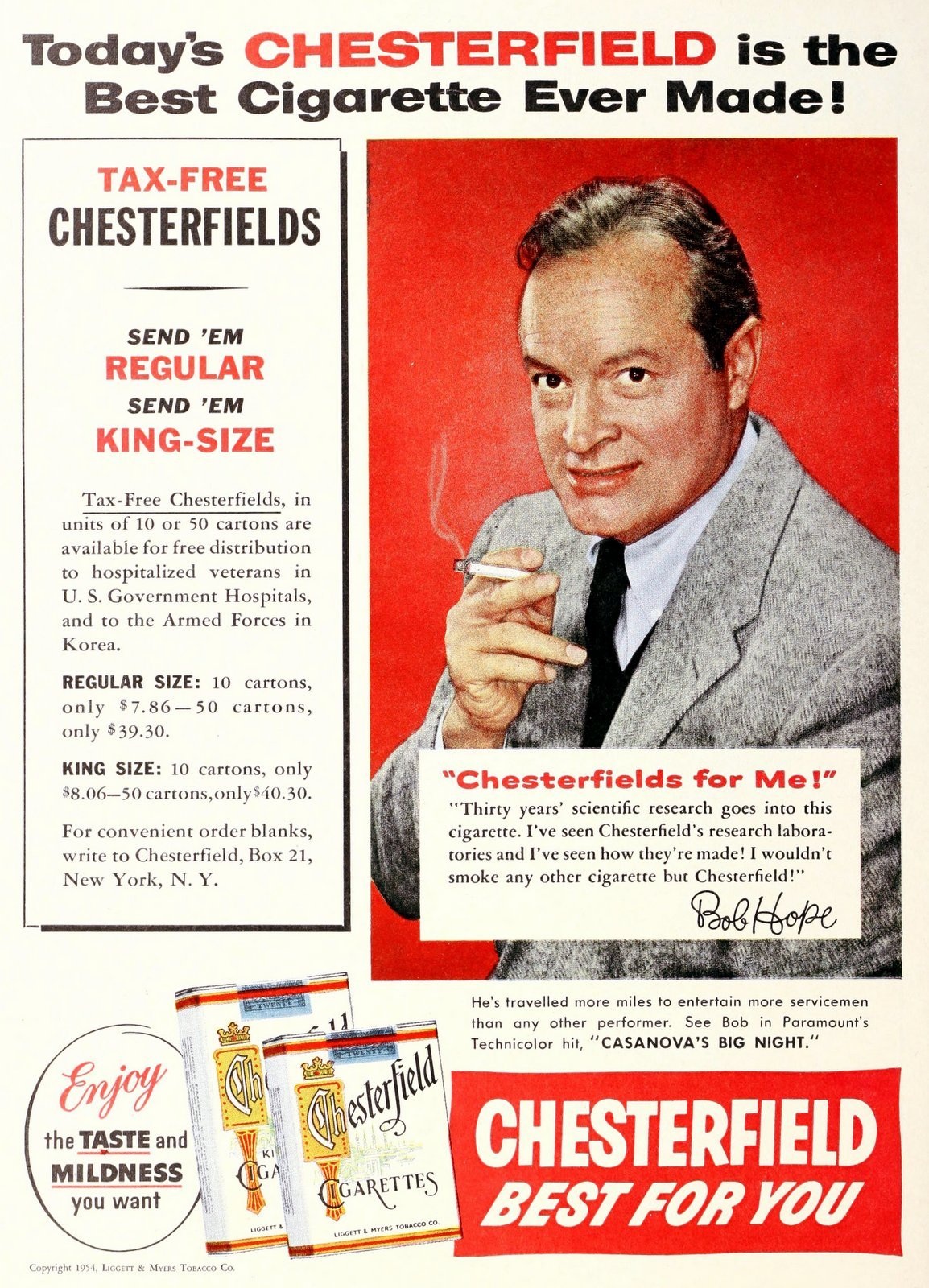 Vintage actor Bob Hope for Chesterfield cigarettes (1954)