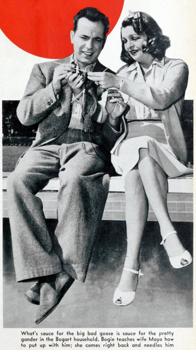 Vintage actor Humphrey Bogart and wife Mayo in 1942
