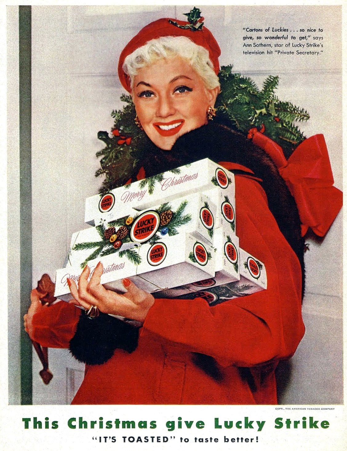 Vintage actress Ann Sothern with Christmas cigarettes (1950s)