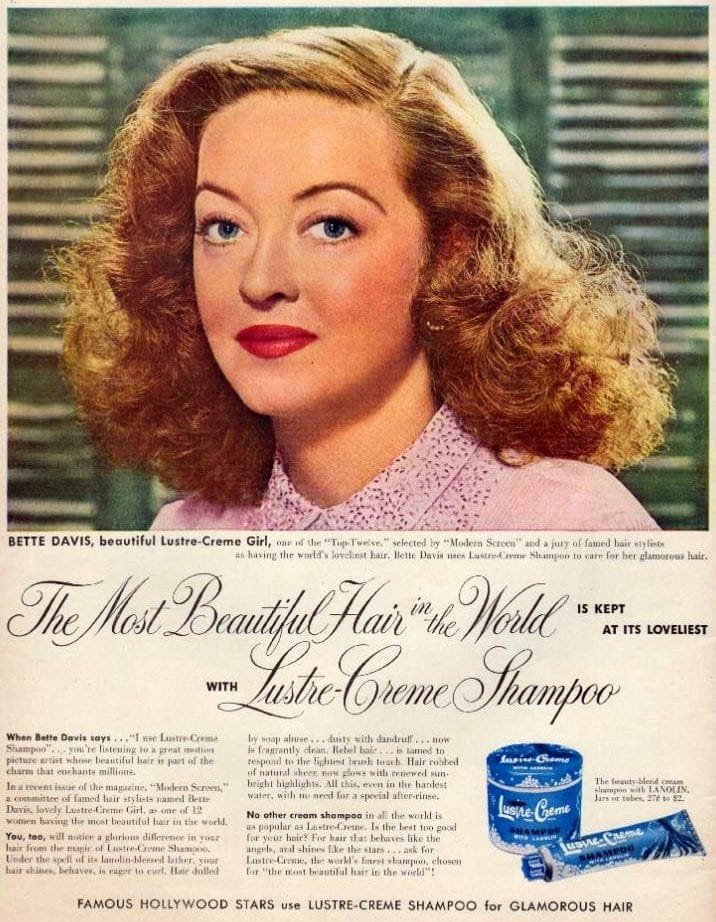 Vintage actress Bette Davis for Lustre-Creme shampoo 1951