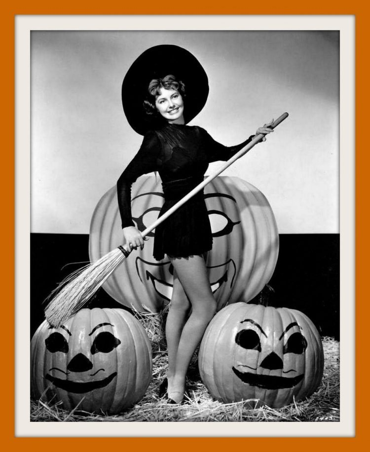 Vintage actress Cyd Charisse dressed up for Halloween