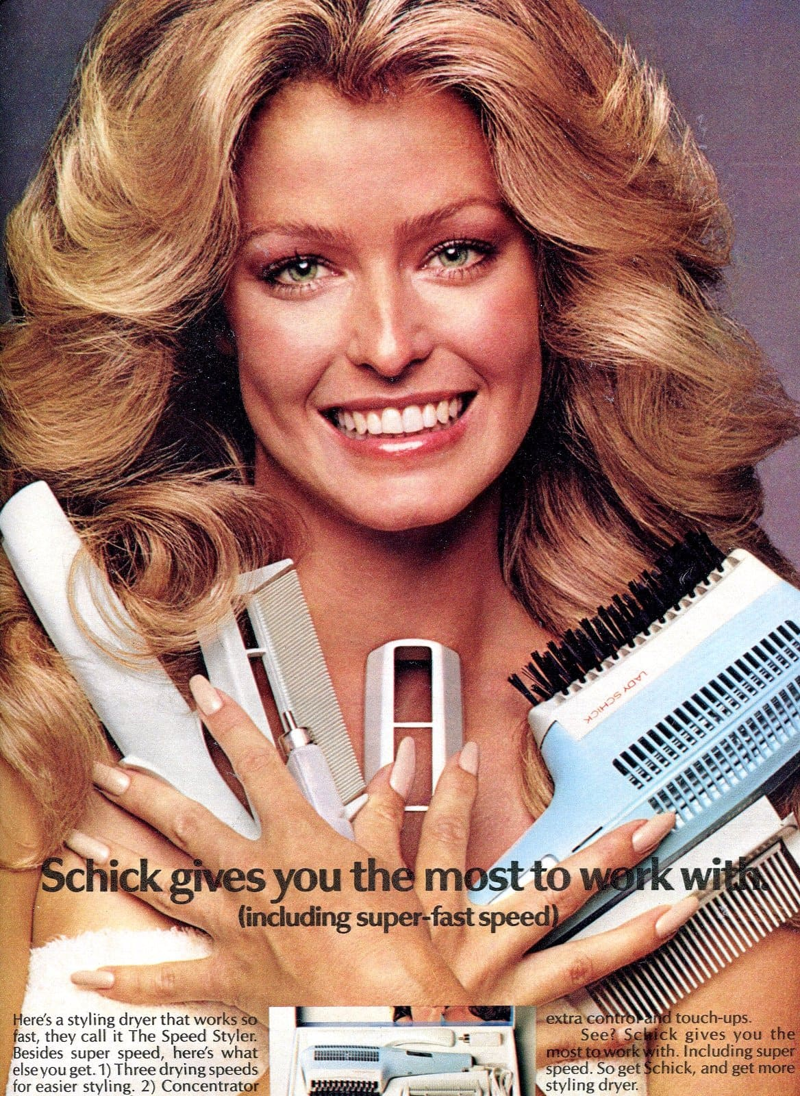 Vintage actress Farrah Fawcett with Schick hair tools from 1970s