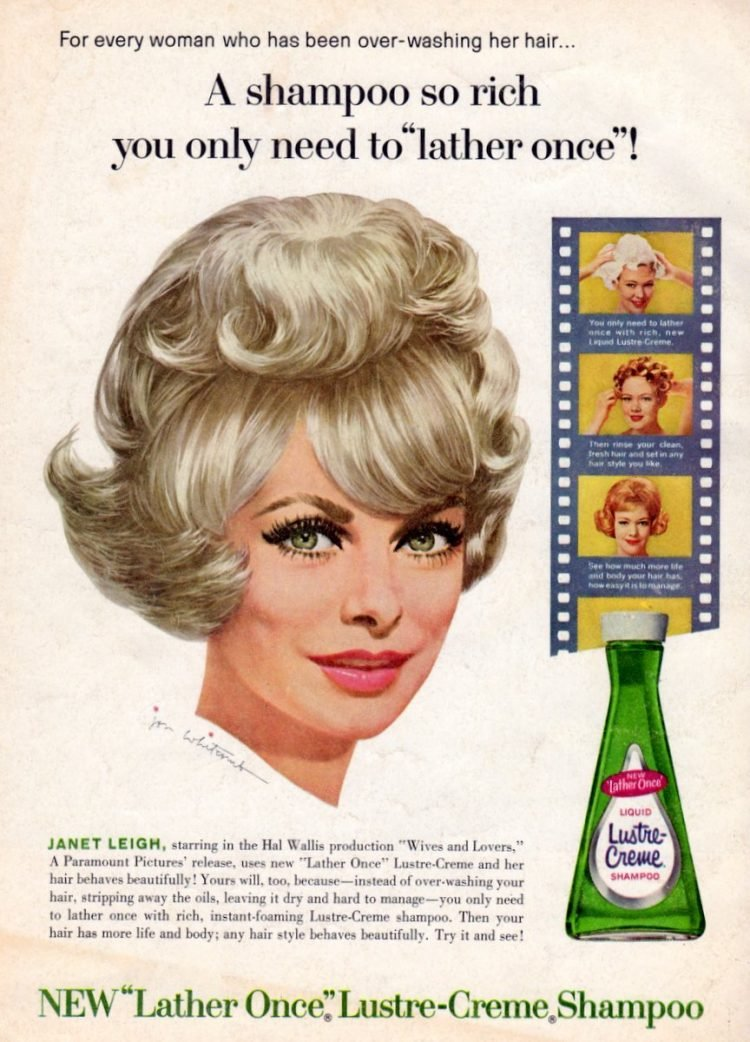 Vintage actress Janet Leigh for Lustre-Creme shampoo