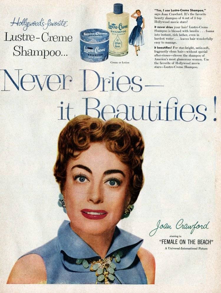 Vintage actress Joan Crawford for Lustre-Creme shampoo