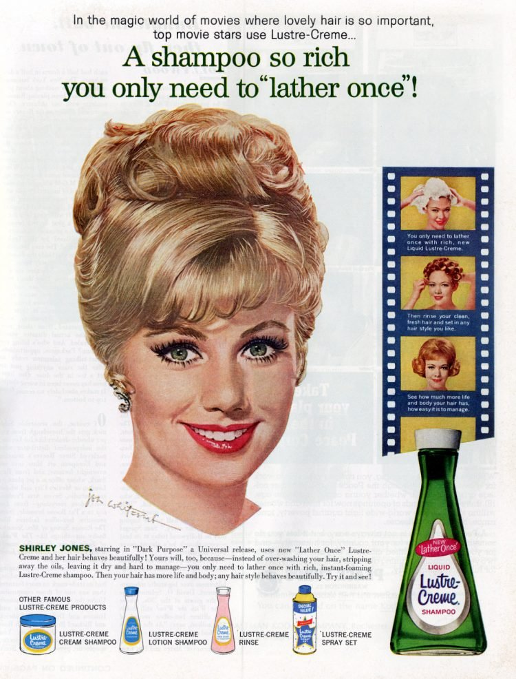 Vintage actress Shirley Jones for Lustre-Creme shampoo 1963