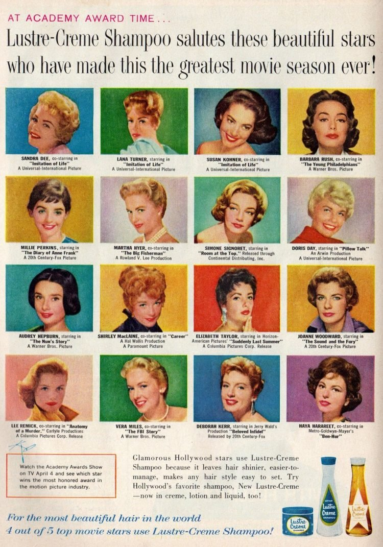 Vintage actresses in 1960 for Lustre Creme shampoo