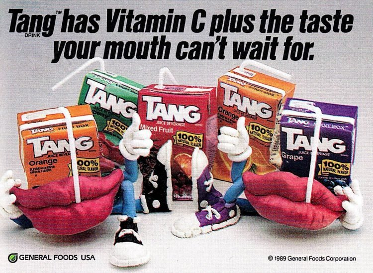 Vintage ad for Tang juice boxes from 1989