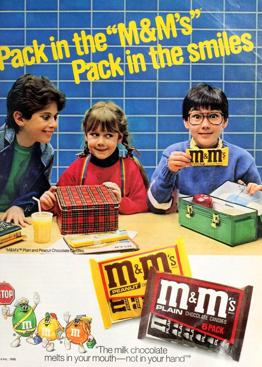 Vintage ad for mms candy at school (1986)