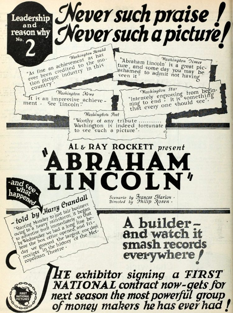 Vintage ad for silent movie Dramatic Life of Abraham Lincoln from 1924