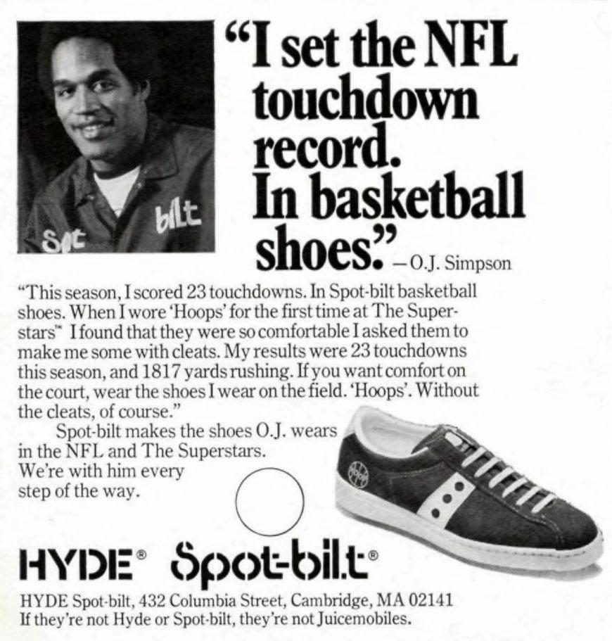 Vintage ads with OJ Simpson - Hyde Spot-bilt basketball shoes (1976)