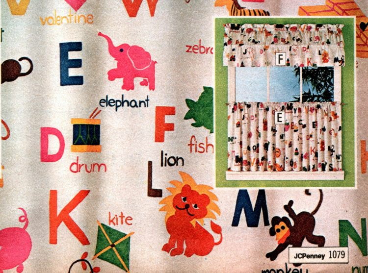 Vintage alphabet print curtains and canopies