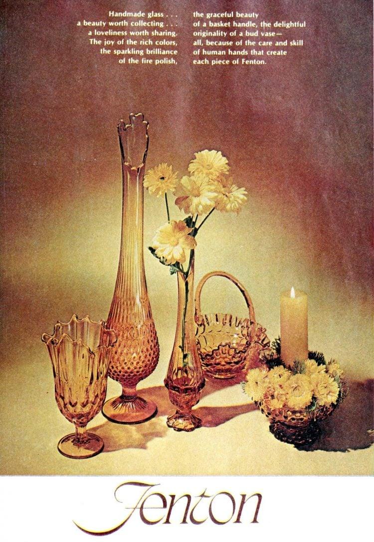 Vintage amber Fenton glassware from 1969