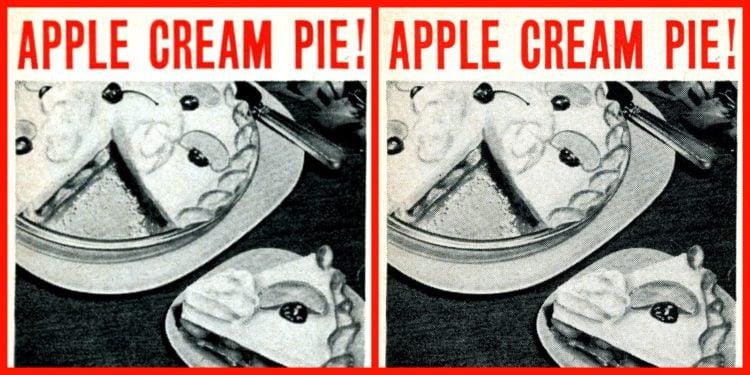 Vintage apple cream pie recipe from the 1950s