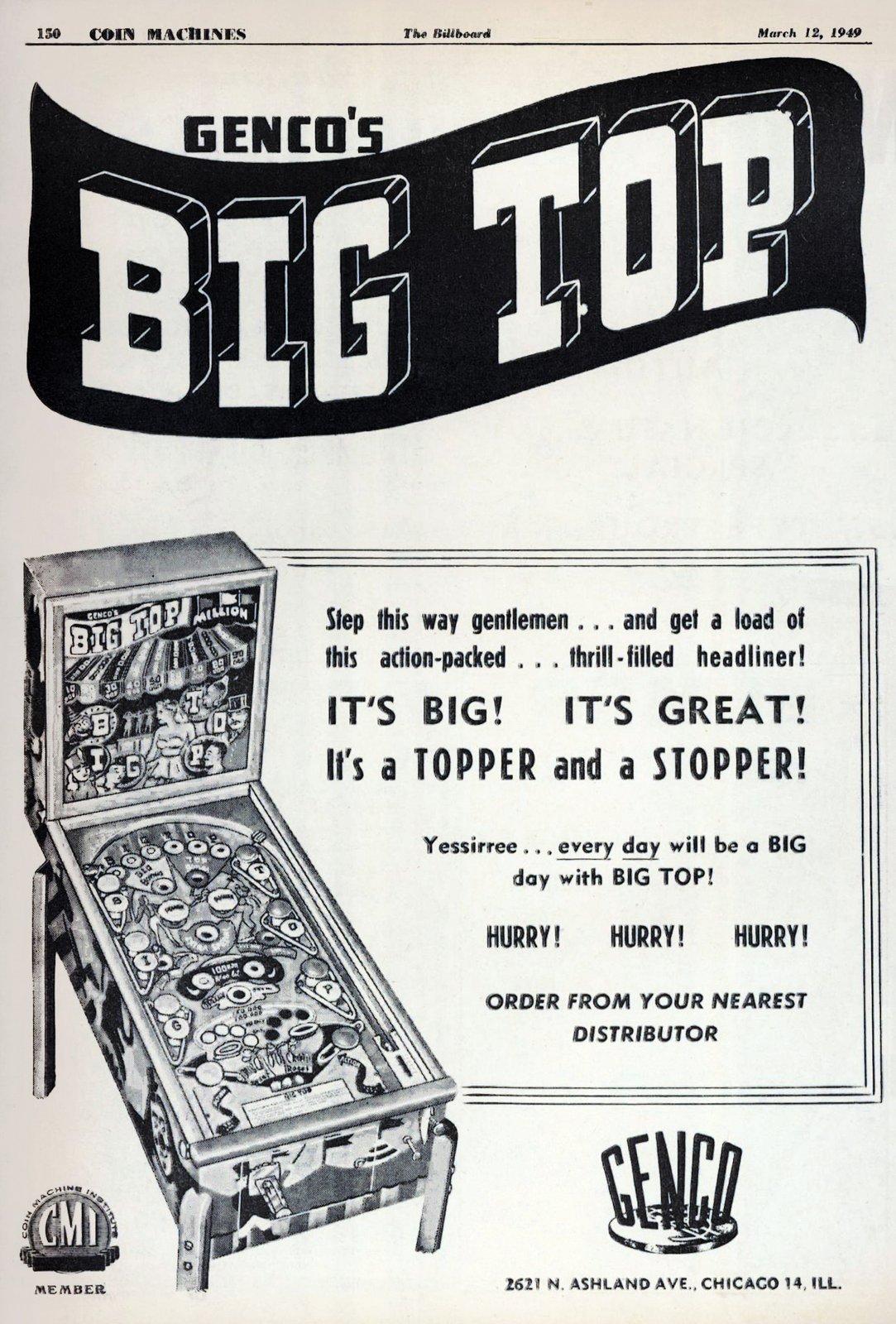 Vintage arcade-style pinball games - Genco's Big Top (1949)