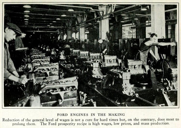 Vintage assembly line - Ford engines in the making