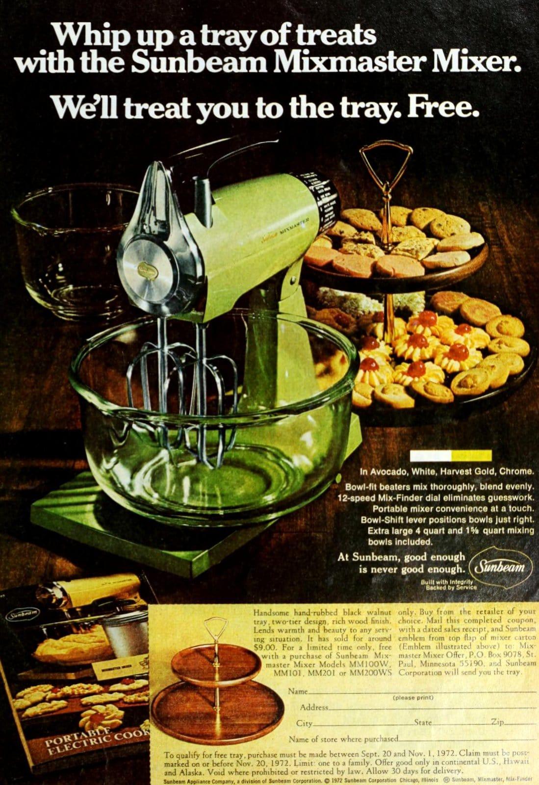 Vintage avocado green Sunbeam Mixmaster mixer (1972)