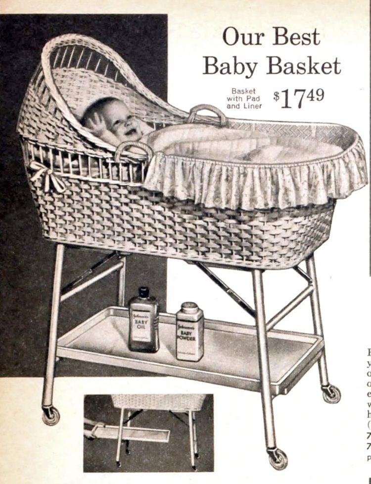 Vintage baby bassinet - basket from 1959