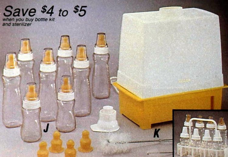 Vintage baby bottles from 1987