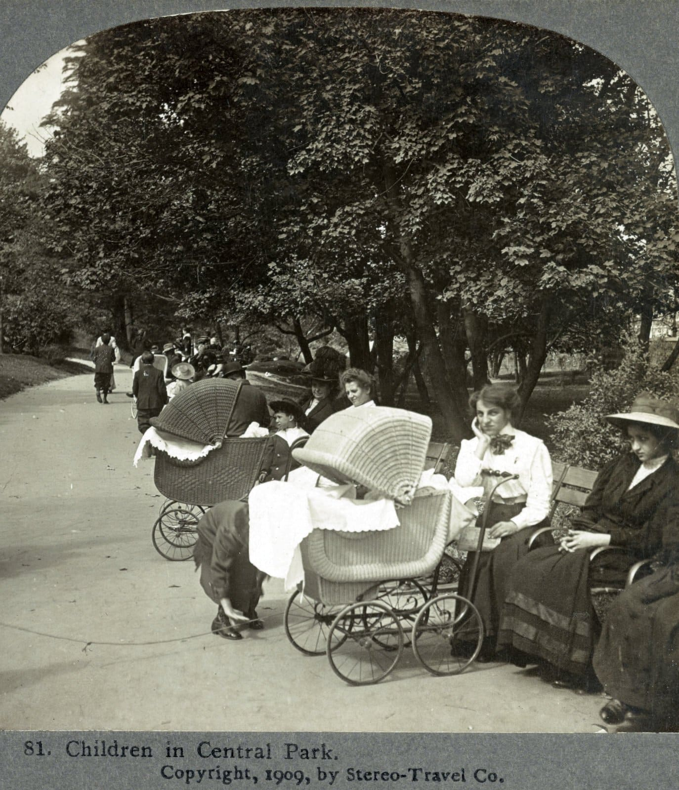 Vintage baby carriages in Central Park (1909)