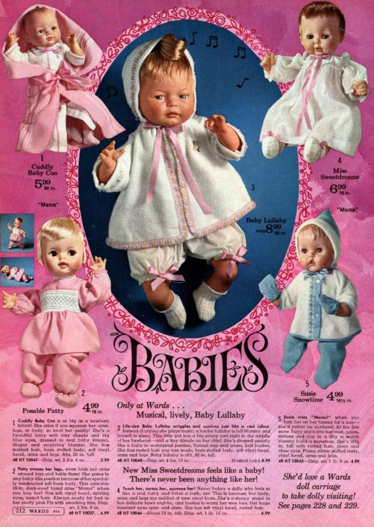 Vintage baby dolls from 1967