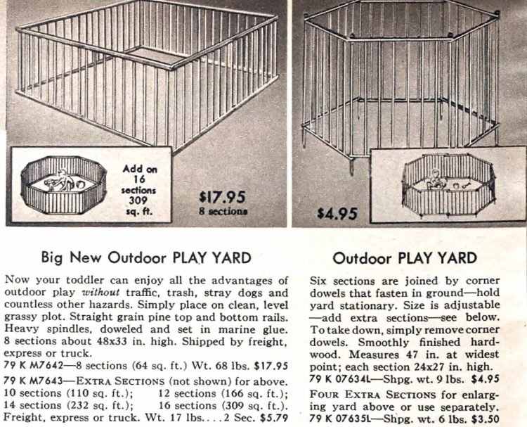 Vintage baby gear - folding play yards from the 50s