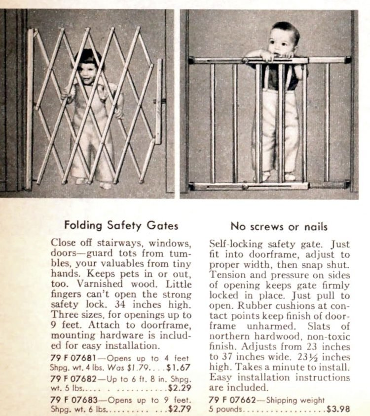 Vintage baby gear - safety gates from the 50s