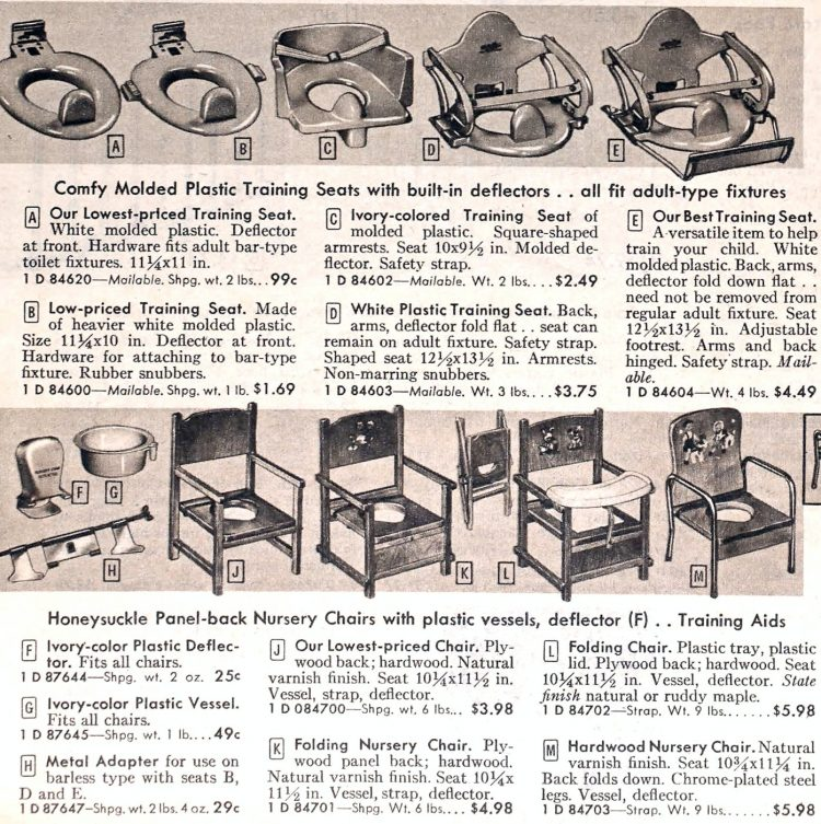 Vintage baby potty training seats from 1954
