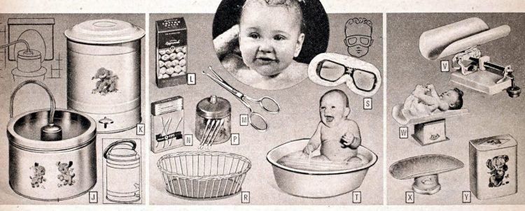 Vintage baby scales and care accessories from the fifties