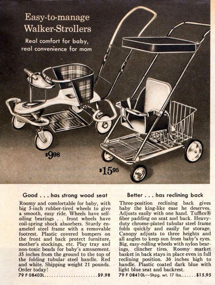 Vintage baby strollers from 1959