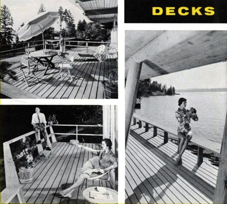 Vintage backyard ideas for decks from 1960