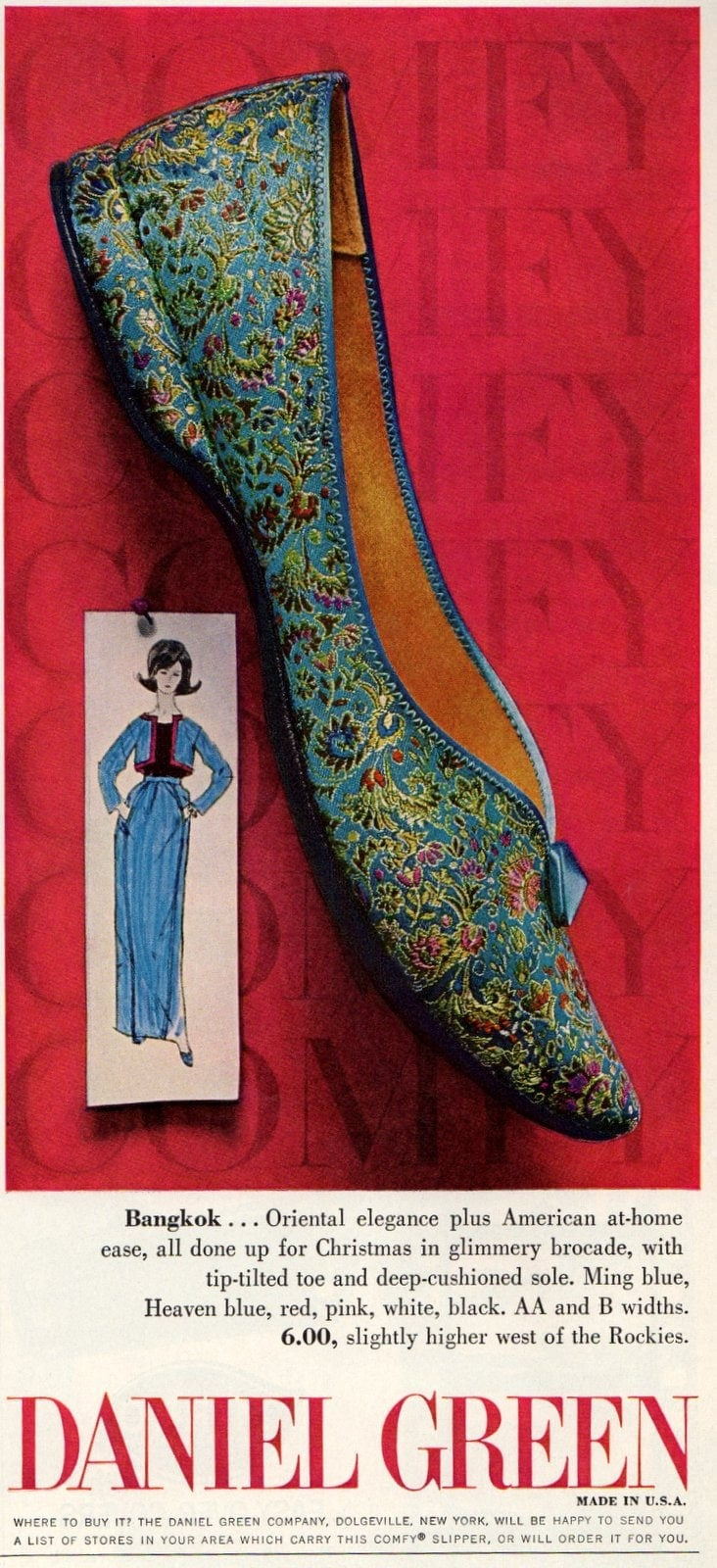Vintage ballet flat shoes in blue metallic brocade (1963)